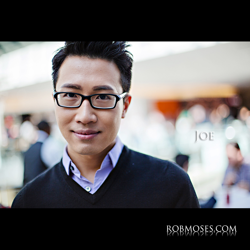 Joe 1.1 - The People of Calgary - Man Guy Asian glasses bokeh head shot portrait stranger - Rob Moses Photography - Vancouver Seattle Photographer