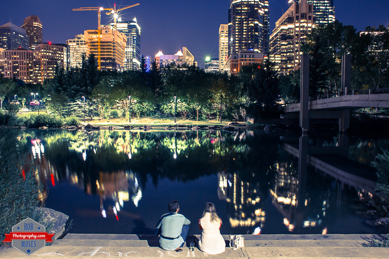 Blog Couple Friends in Calgary YYC Skyline City Pond - Rob Moses Photography
