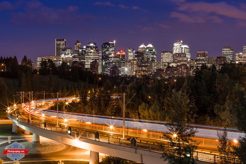 YYC Skyline subway train night sky long exposure urban city alberta Canada - Rob Moses Photography - Vancouver Seattle Calgary Photographer Photographer Native American Famous Tlingit Ojibawa Top Popular Best Canadian Lifestyle